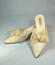 Olivia Rose Tal Fabric Ivory Kitten Heels Shoes w/ Ivory & Gold Bow Wedding