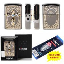 [Zippo] Pray EMB BA Windproof Lighter Made in USA GENUINE + 6 Flints for free