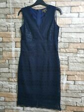 LIPSY NAVY BLUE  LACE SLEEVELESS DRESS SIZE 12 NEW