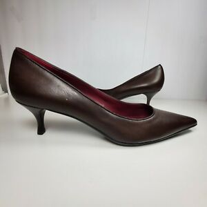 Gucci Women Pump Kitten Heel Shoe Brown Leather  Pointed Toe Classic Size 9.5