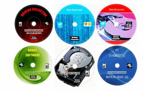 Computer Repair Data Restore Recovery Drivers Security Software 6 CD'S Pack