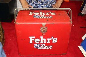 """Rare Vintage 1940's Fehr's Beer Cooler 18"""" Metal Gas Oil Sign"""