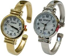 New Geneva Metal Band Slim Case Mother of Pearl Dial Women's Bangle Cuff Watch