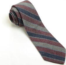 NEW WEMBLEY 54L Navy Blue Gray Burgundy Woven Striped Wool Blend Mens Neck Tie