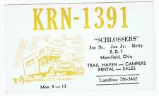 Truck Camper QSL Card Amateur CB Radio Mansfield Ohio Trail Haven Advertising