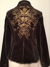Miss Me Distressed Velvet Olive Green/Brown Blazer Jacket Size Medium