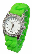 AN London Ladies Stone Set Dial & Silicon Jelly Expandable Bracelet Watch-AN695