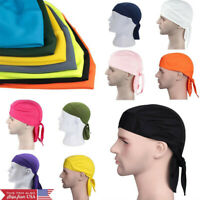 Pirate Cap HeadWrap Men's Biker Hip Hop Smooth Skull Du Rag HeadScarf 12 Colors