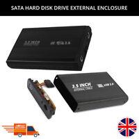 "PORTABLE SATA HARD DISK DRIVE HDD EXTERNAL ENCLOSURE CASE ALUMINUM USB 2.0 3.5"""