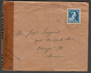 Belgium WWII censor 7014 cover Oostmolen 15 Aalter to Joseph Langerock Chicago