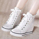 Ladies Leisure High Top SNeakers Hidden Wedge Heels Lace Up Trainer Leather Boot