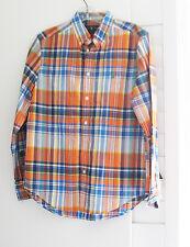 Ralph Lauren Boys Long Sleeve Plaid Shirt Orange Multi Sz XL (18-20)-NWT