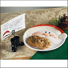 Christmas Jolly Santa Note & Cookie Plate With Boot Card Holder Boxed Set~New~