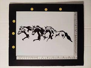 "3 Horses Running Horse Pony 11"" x 8.5"" Custom Stencil FAST FREE SHIPPING"