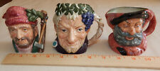"""3 Royal Doulton Toby Mug Character Jug Small 4"""" Lumberjack, Bachus & Falstaff"""
