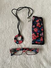 Ladies reading glasses, 1.0x Primark With Flowers matching case, Necklace Holder