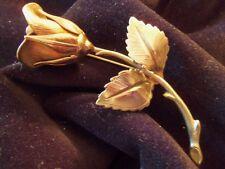 BEAUTIFUL Vintage Detailed Goldtone Layered ROSE Flower Brooch 1-BR0118B