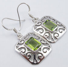 925 Solid Silver GREEN PERIDOT Rectangle ANTIQUE STYLE CELTIC Earrings 1.4 Inch