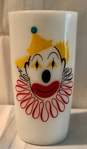 Vintage Hazel Atlas milk glass Circus Clown drinking beverage tumbler cup Rare