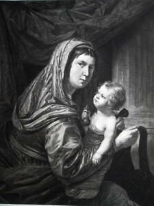 BIBLE Virgin Mary Holding Baby Christ - 1876 ETCHING Print after Venius