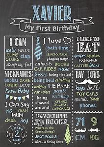 Birthday Chalkboard Poster Custom Personalised Party 1st Birthday First BOY