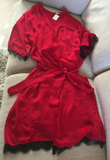 PRIMARK LOVE TO LOUNGE Red Hammered Satin And Black Lace Robe Size Large BNWT