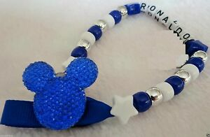 Personalised Stunning Royal Blue Mickey Mouse Dummy Clip Chain for reborn dolls