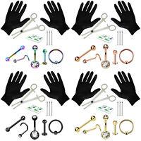 LongBeauty 130 PCS Body Piercing Lot Belly Ring 14G 16G RANDOM Mix Jewelry