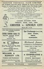Football Programme - Chester v Lincoln City - Div 4 - 13/3/1964