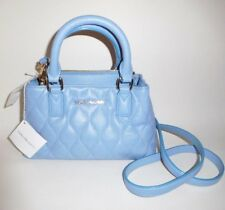 Vera Bradley Genuine Quilted Blue Leather Crossbody Purse Shoulder Hand Bag