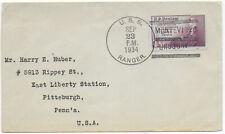 1934 Uruguay 3c cover USS RANGER Montevideo->Pittsburgh USA
