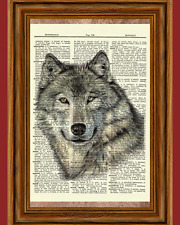 Wolf Dictionary Art Print Poster Picture Wildlife Animal Wild Collectible