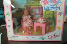 Rare Zapf Baby Born MiniWorld doll Birthday Cake set New in Box!