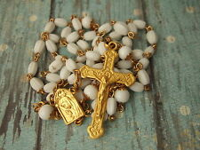 Vintage Catholic Rosary White Glass Beads Gold finish ornate Crucifix medal