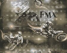 Motorbike Wallpaper Metallic Black Grey Boys and Girls Collection 5 as Creation