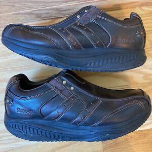 Sketchers Shape Ups Mens 12 Brown Leather Walking Athletic Shoes 66501EW Sz 9.5