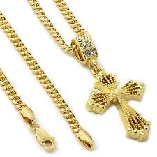"""Men's 14k Gold Plated Center Heart Cross Pendant Hip-Hop 3mm 27"""" Cuban Chain"""