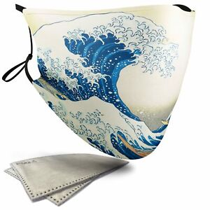 The Great Wave off Kanagawa Painting - Adult Face Masks - 2 Filters Included