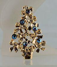 VINTAGE GOLD TONE AURORA BOREALIS AB RHINESTONE CHRISTMAS TREE BOW TIES BROOCH