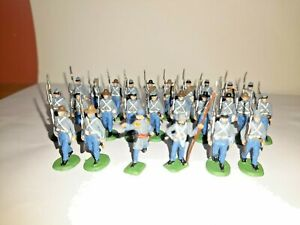 PAINTED SOLDIERS 1/72 20mm - CONFEDERATE INFANTRY MARCHING - A.C.W x 26 HAT