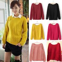 Women Long Sleeve Knit Sweater Jumper Loose Casual Pullover Knitwear Tops Coat