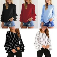 AU Women Long Bell Sleeve Ruffled Flounce Blouse Casual Shirt Tops Loose T-shirt