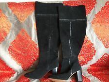 Monsoon Black Suede Knee High Boots Size 5 Heel
