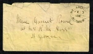 Bermuda Stampless Cover 1863 Local Usage Ireland Island to St. George's w/ PM 5