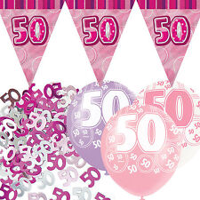 Pink Silver Sparkle 50th Birthday Flag Banner Party Decoration Pack Kit Set