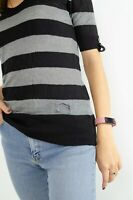 Burberry London Striped Womens T-shirt With Wool, Mohair And Silk Size S