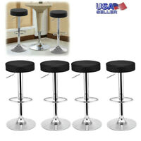 Set of 4 Counter Height PU Leather Bar Stools Adjustable Swivel Pub Chairs Black