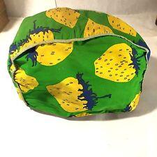 Vtg Retro Mcm Fabric 2 Slice Toaster Cover Green Blue Yellow Strawberry Fruit