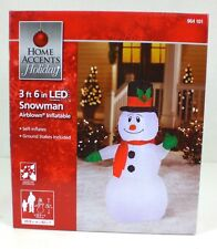 Home Accent Holiday Christmas 42 in LED Lighted SNOWMAN Airblown Inflatable NIB