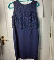 Wallis Petite Blue dress Lace Pencil Size 16